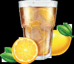 iced tea with lemon illustration