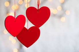 valentine's hearts suspended in air
